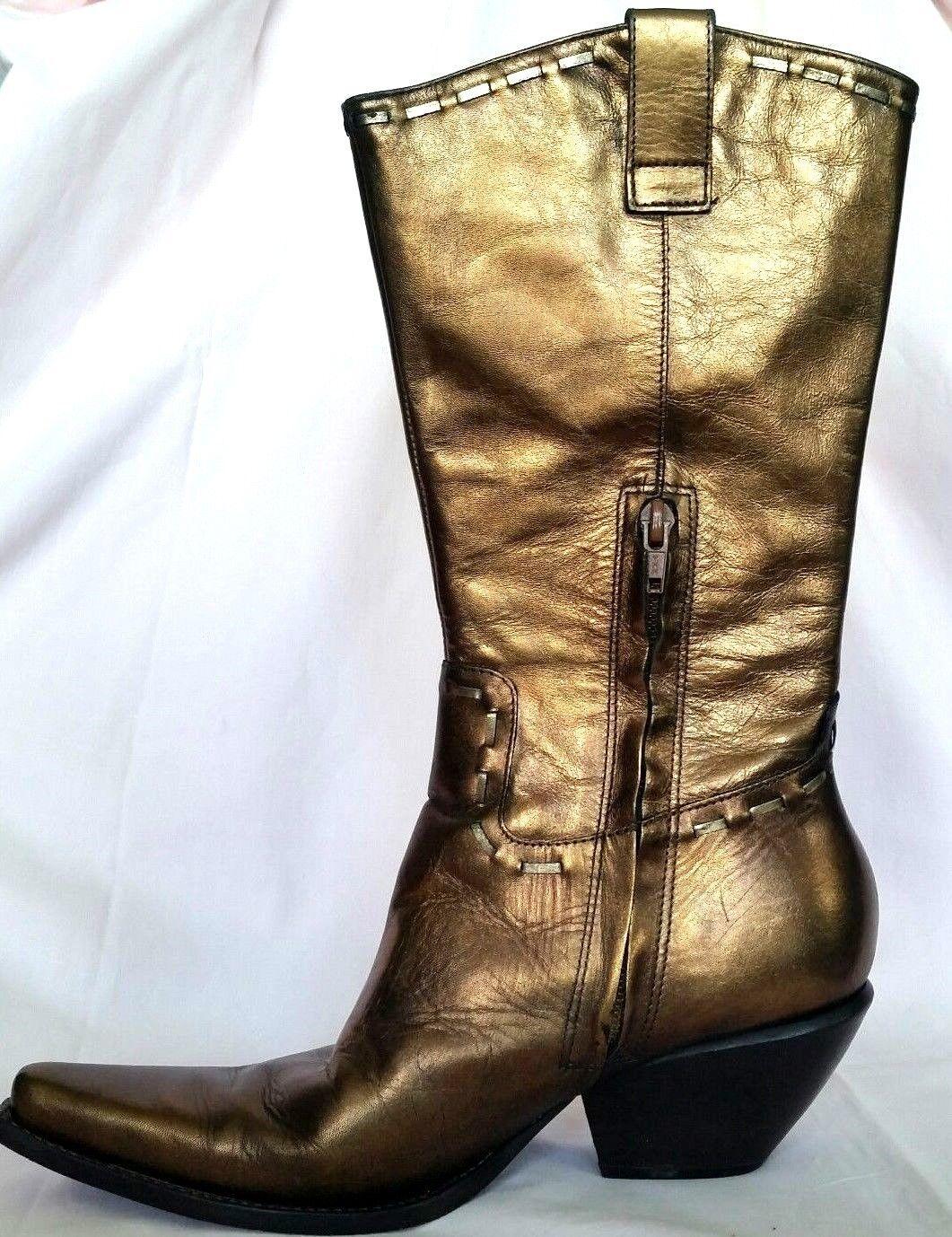 BCBG Girls Metallic Bronze Metallic Leather Cowboy Western Womans Boots  7B 37