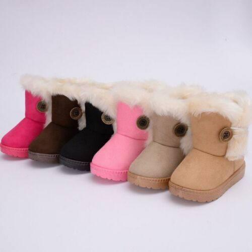 UK Winter Kids Boys Girls Snow Fur Baby Shoes Cute Toddler Warm Boots Size4.5