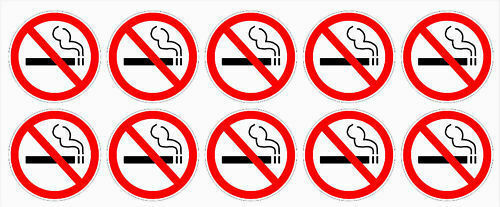 """stickers outdoor durable business signs NO SMOKING Decals BULK white 1.5/"""" dia"""