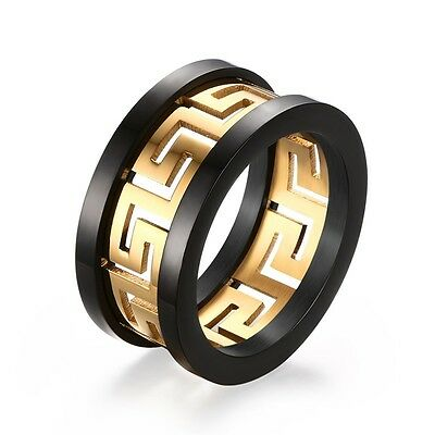 Mens Gold and Black Classy Titanium Steel Ring