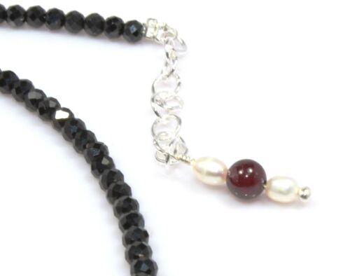 """Black Spinel /& Almandine Garnet Necklace Sterling Silver 3 mm 16/"""" 18/"""" Valentine"""