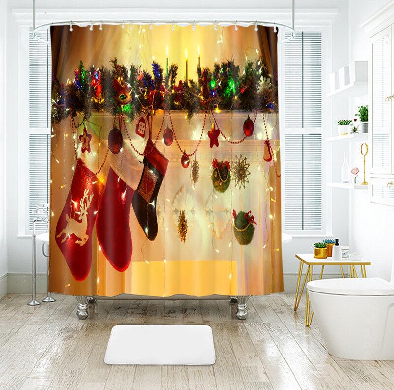 3D  Christmas Xmas 24 Shower Curtain Waterproof Fiber Bathroom Windows Toilet