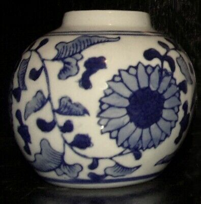 Dollhouse Miniature Blue and White Ginger Jar with Stand