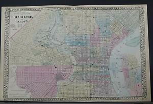 Antique Map, 1878 United States, Philadelphia & Camden, New Jersey ...