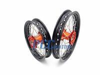Ktm 50sx Black Rim Cnc Hub 12/10 Wheels Set Orange 2014-2016 I Rmt05