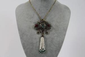 Grosses-Prunk-Collier-Halskette-Schmuckmetall-Perlen-Steinbesatz-Barock-Stil