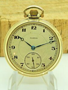 Serviced Antique Gold Filled Illinois Pocket watch 12 size 17 jewel Grade 404
