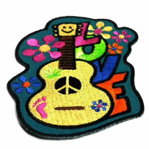Embroidered Love Guitar Flowers Hippie Sew or Iron on Patch Biker Patch