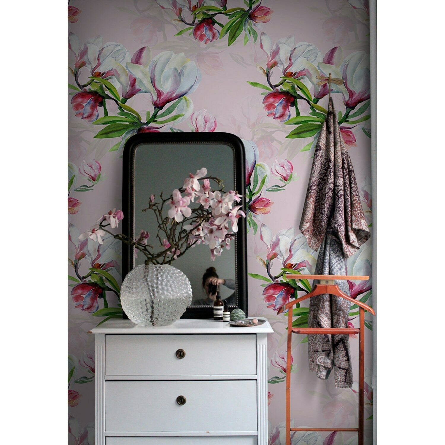 Removable wallpaper Magnolia flower Botanical WaterFarbe floral Wall decal