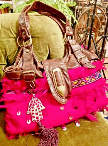 Used Hamsa Sequins Bag Slouch Ethnic Pink Neon Moroccan Boho Embroidered CdtxBsQhro