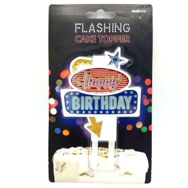 Multi-Colour Happy Birthday SUCK UK Flashing Cake Topper