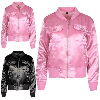 Intenzionale Ladies Ma1 Long Sleeve Satin Womens Front Baseball Collar Pockets Bomber Jacket Costo Moderato