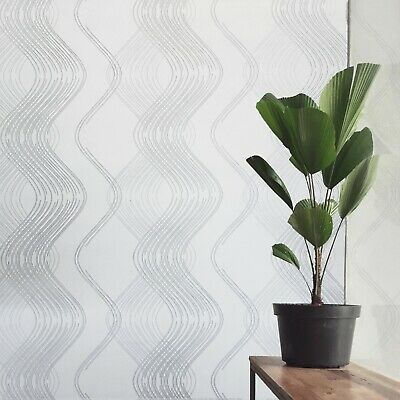 Geometric Modern Wallpaper white silver metallic textured trellis wave lines 3D