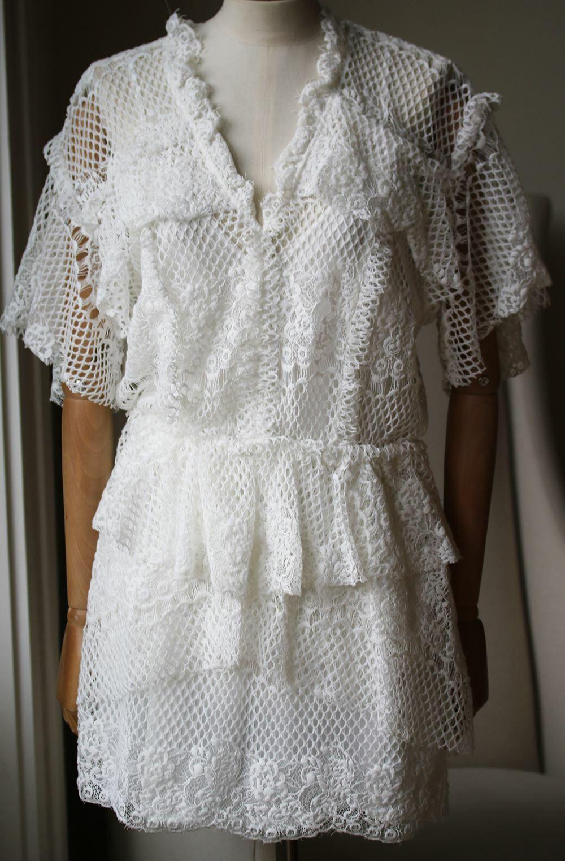 IRO PENNY COTTON BLEND LACE MINI Kleid FR 38 UK 10