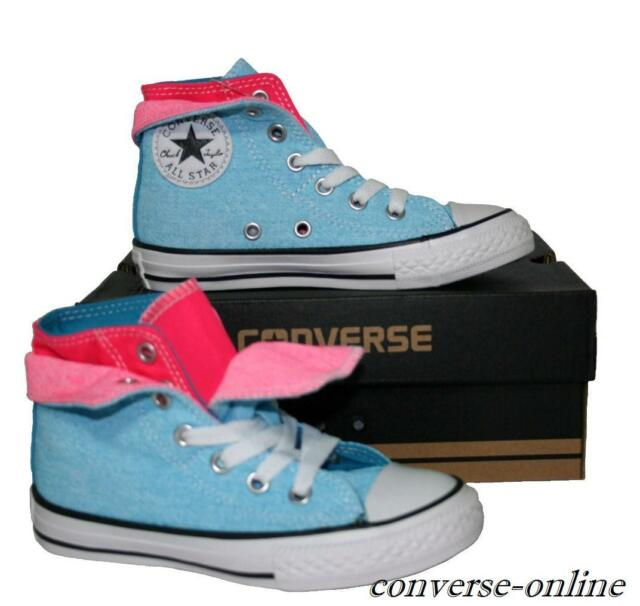 37de8c77ba74 ... coupon kids boys girls converse all star blue pink high top trainers  boots size 4d052 4c5ae