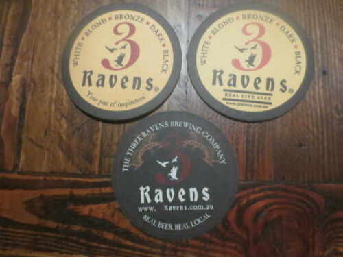 3 Different THREE RAVENS BREWING CO Victoria  BEER COASTERS,collectable