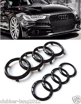 Audi Matt Black Paraurti Anteriore Anelli Posteriore Portellone Badge Emblemi A3 A4 A5 S3 Rs3-