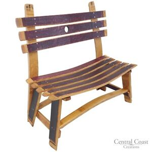 Image Is Loading WINE BARREL Small Garden Bench Rustic Furniture Home