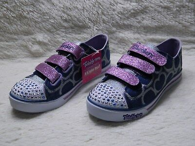 NWT Skechers Twinkle Toes Light Up Girls Shoes Size 2 Youth Purple Navy FREE S&H | eBay