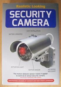 FAKE SECURITY VIDEO SILVER TUBE STYLE CAMERA metal-like finish battery operated