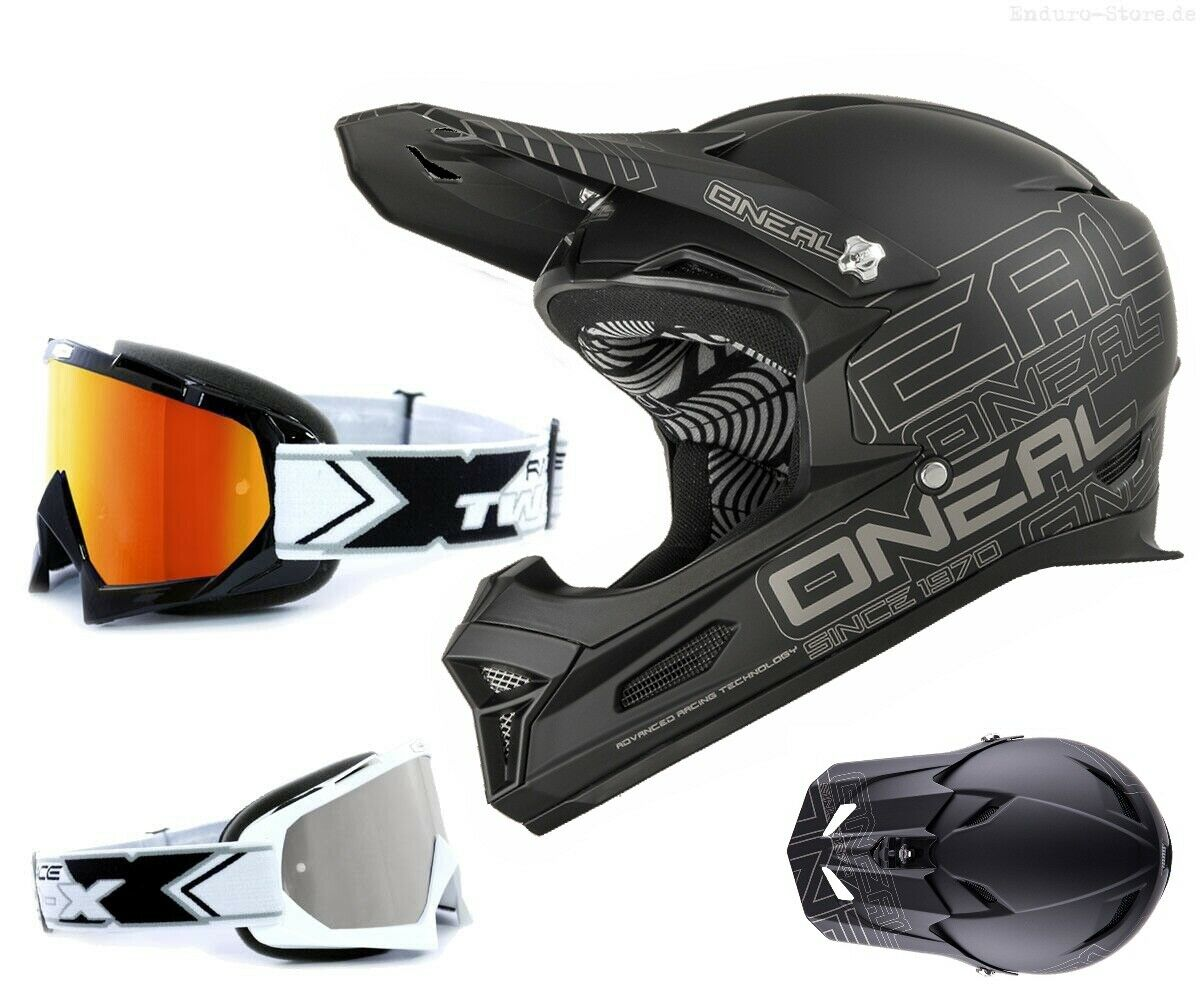 Oneal Fury Downhill Helm black matt DH Mountainbike mit TWO-X Race Brille