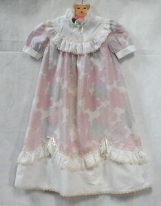 Robe-de-ceremonie-vintage-80-039-s-034-nuages-034-5-6-ans