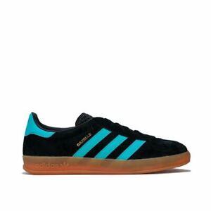 Homme-Adidas-Originals-Gazelle-Indoor-en-Daim-Dessus-En-Cuir-Baskets-En-Noir