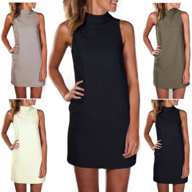 Women's Sleeveless Summer Short Mini Dress Casual High Neck Tunic Shift Dresses