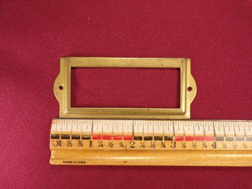 Vtg Antique Brass Card Drawer Label Holder Name Tag Library Catalog File Index