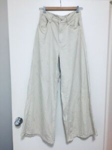 UNIQLO-high-waisted-wide-leg-cream-beige-pants-trousers-100-cotton-S