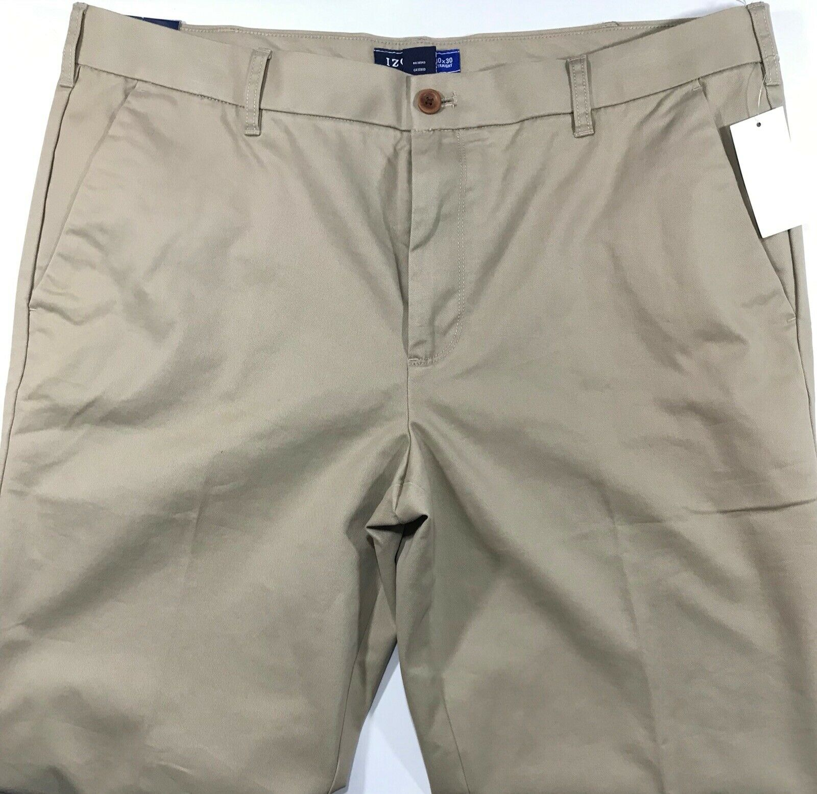 MEN'S PANTS FLAT IZOD SPORT FLEX SIZE 40 x 30 CEDARWOOD KHAKI COTTON BLEND NWT