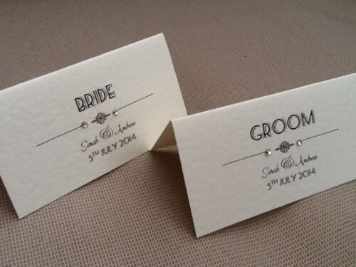 10 x Handmade Personalised Vintage Art Deco Style Name Place Cards wedding