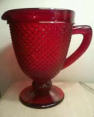 Ivima-Cranberry-hobnail-Pitcher-From-Portugal-New-with-tags