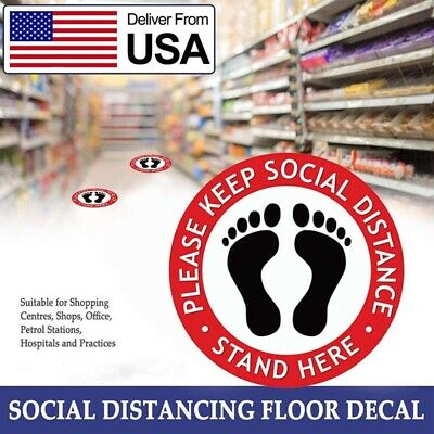 """10-50 Pack Social Distancing Floor Decal Sticker 10/"""" Non-Slip Safety Social Sign"""