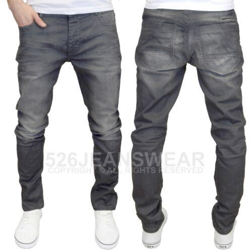 BNWT DML Men/'s Branded Slim Fit Grey Coated Denim Jeans