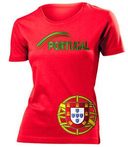 Portugal EM 2020 Fanshirt Damen Fanartikel Fußball Fan Frauen T-Shirt Trikot