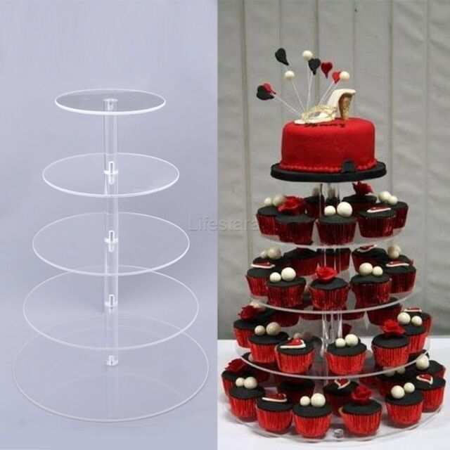 5 Tier Acrylic Round Cupcake Wedding Party Birthday Cake Stand Display Local US
