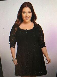 0dfa81b9de6 Torrid Plus Size Black 3 4 Sleeves Lace Button Henley Shirt Dress 5 ...
