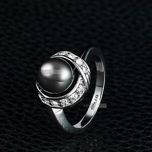 18K-WHITE-GOLD-GF-MADE-WITH-SWAROVSKI-CRYSTAL-DARK-GREY-PEARL-DRESS-RING