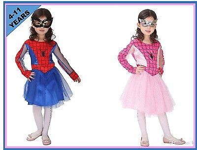 M4-2 Girls Spidergirl Dress Up Costume Superhero Spider Fancy Dress Size 4-11
