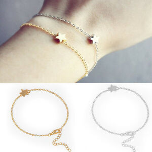 2PCS-Korean-Women-Gold-Silver-Plated-Charm-Chain-Star-Bracelet-Fashion-Jewelry