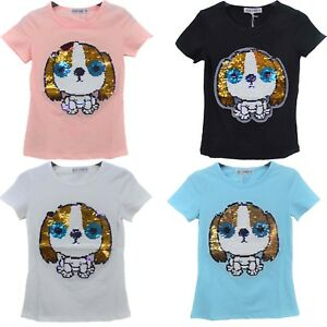 Details about Girls Kids Sequin Reversible Puppy Brush Changing Sequins Top  T-Shirt 4-14 Yrs