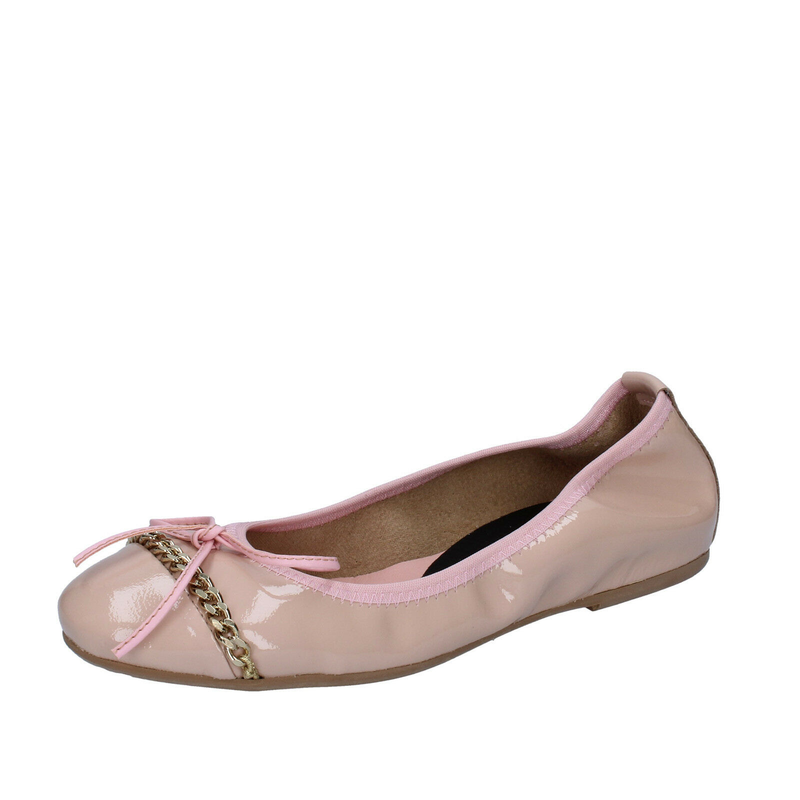Scarpe donna CROWN 37 ballerine rosa cipria vernice BZ941-D