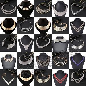 Fashion-Charm-Women-Metal-Chunky-Statement-Bib-Choker-Pendant-Necklace-Chain