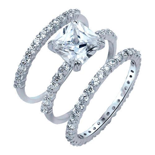 Princess Cut Engagement Wedding Eternity Three Ring Genuine Sterling Silver Set