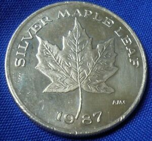 1987-AMC-Silver-Maple-Leaf-1-Troy-Oz-999-Silver-Coin-Round-112