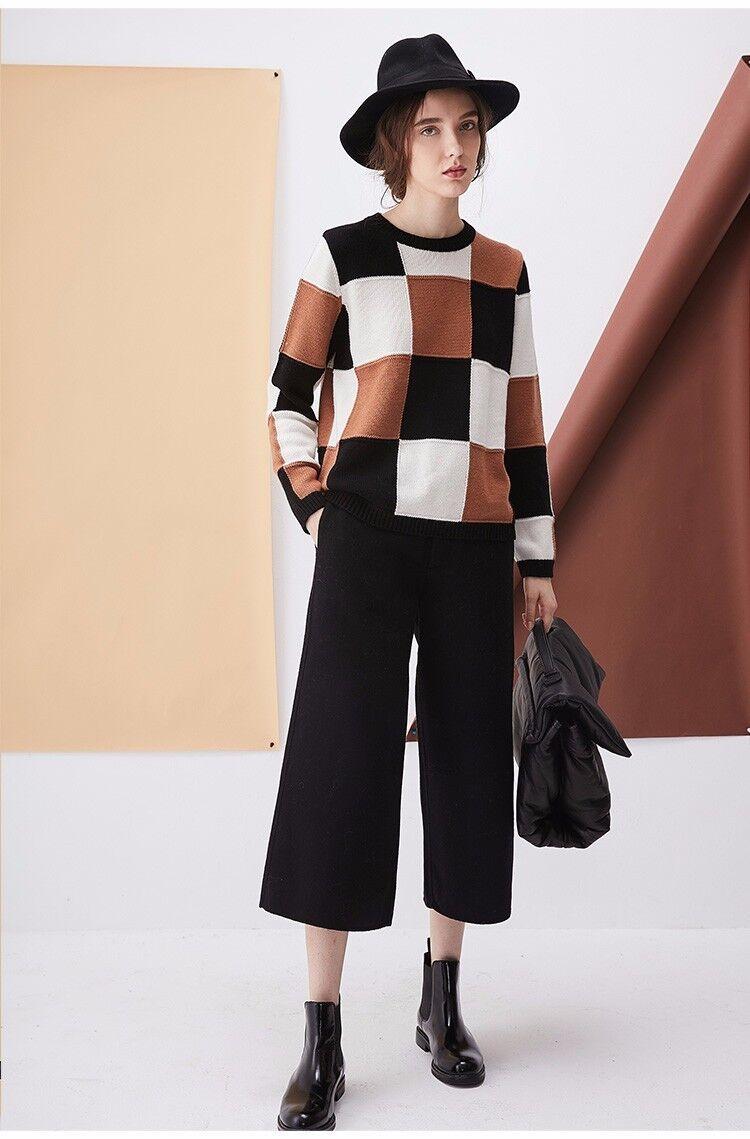 FEW MODA Women's Retro Plaid Loose Sweater, Size S, Original