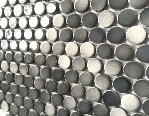 3//4 x 3//4 Penny Round Multi Gray Porcelain Mosaic Wall and Floor Backsplash Bath