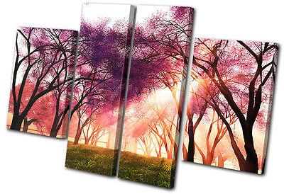 Landscapes Cherry Blossom  MULTI CANVAS WALL ART Picture Print VA