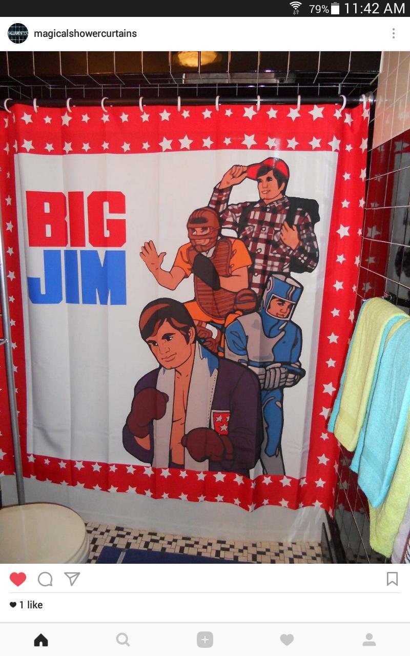 Retro BIG JIM Shower Curtain 70's Butch Action Figure Gay Bear